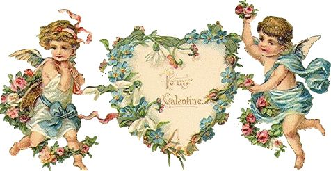 Horizontal valentine with heart in the center and a girl cupid on one side and a boy cupid on the other. Very dainty compared to some of the other Valentines.