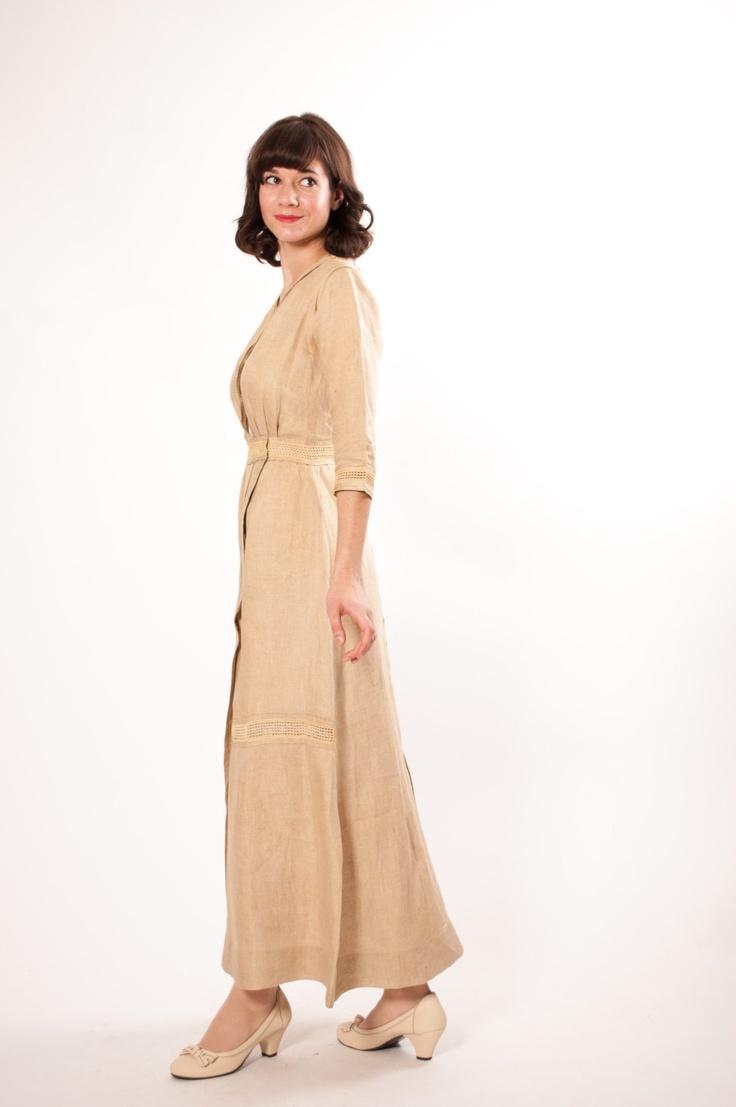 Edwardian Dress - 1910s Dress - Downton Abbey Latte Linen.