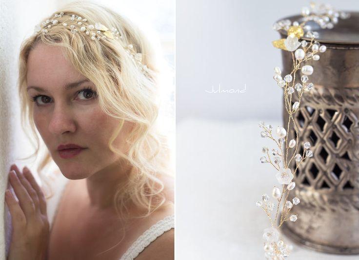 Haarschmuck & Kopfputz - Haarschmuck Hochzeit Echte Perlen Haarband Tiara - ein Designerstück von _Julmond_ bei DaWanda