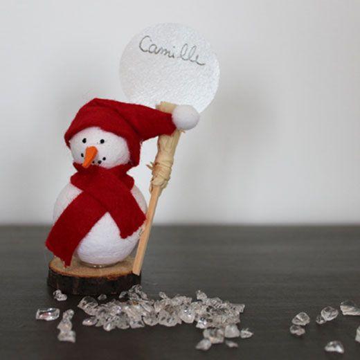 marque-placespour Noël bonhomme de neige savoir et créer caen