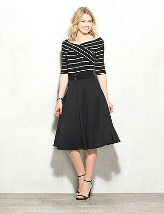 We appreciate a dress with sleeves, especially one as chic as this striped  number. An elastic belt cinches your waist while a flared scuba skirt  flatters ...