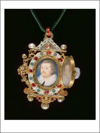 Nicholas Hilliard - Gresley Jewel, with Miniature Portraits of Sir Thomas Gresley and his Bride Catherine Walsingham