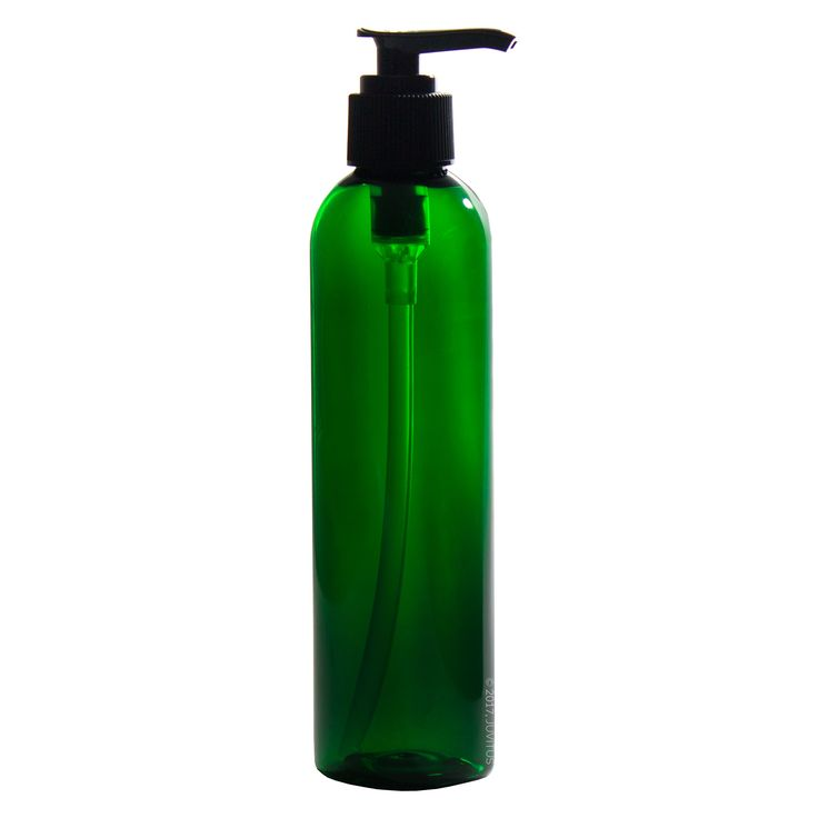 8 oz Green Tall Slim Plastic PET Refillable BPA Free Bottles with Black Lotion Pump Dispensers (6 pack) + Labels