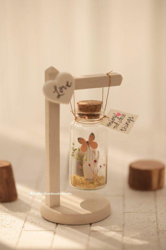 Marco flotante de la casa de madera hecha a mano / columpio flotante, enmarque su mensaje, pequeño mensaje en una botella, regalo personalizado, San Valentín, regalo para ella / él