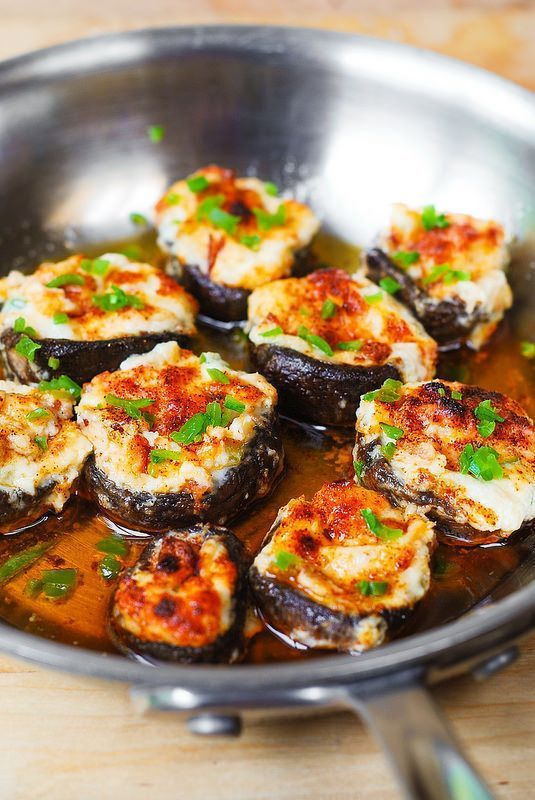 Bacon and Cheese Stuffed Mushrooms with Cream Cheese, Parmesan Cheese, Mozzarella   Cheese and Diced Green Bell Peppers