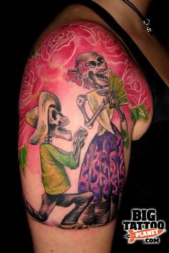 german tattoos - Bing Bilder: Skeleton Couple Tattoo, Couples Tattoos, Dead Tattoo, Horror Tattoo, Skull Tattoos, Tattoo Designs, Couple Tattoos