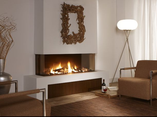 Trisore 140 - Beautiful three-sided contemporary gas fireplace available at www.europeanhome.com