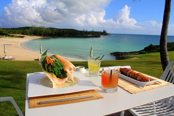 Fresh sushi and seaweed salad with a Bahamian backdrop like no other...@TheCoveEleuthera