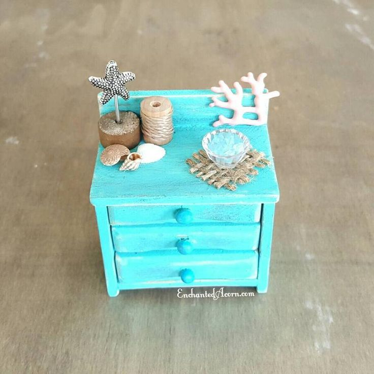 Beach Miniature Sidetable - Fairy Garden Furniture Miniature Garden Table Shabby Cottage Dollhouse Dresser Nightstand - Fairy Gardens Group Board