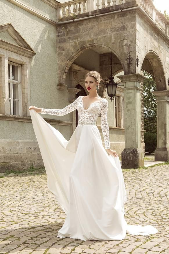 Lace and Satin Wedding Gown with Plunging V Neckline & Lace Applique Bodice and Sleeves