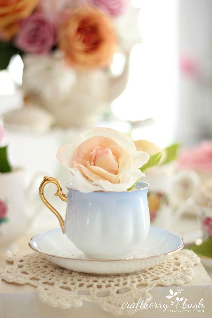 Vintage Tea Cup in Light Blue ~ Craftberry Bush: Mother's Day Rose Fondant Cupcake