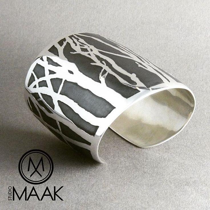 Argentium silver cuff by Studio MAAK #argentium #silver #bracelet #cuff #bangle #tree #trees #handmade #handcrafted  #printmaking #etched #oxidized #design #australiandesign #jewellery #jewelry #jewellerydesign #jewelrydesigner #jewelrydesign  #night #nature #kariba #lakekariba  #zimbabwe #africa #harare #unique #oneofakind #bespoke #style