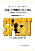 Free Printable Cheerleading Certificates, Cheerleading Awards to Print, Cheerleader Certificates, Pep Squad Certificate Templates for Kids