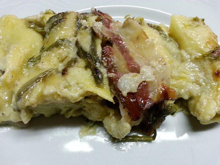 lasagne con asparagi e pancetta