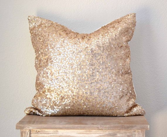 "Sequin Pillow Cover - Champagne Taffeta Sequin - 20"" x 20"""