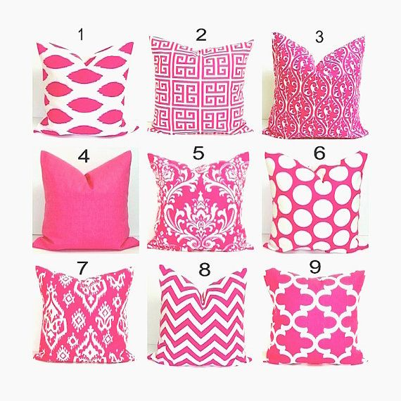 PINK PILLOWS.18x18 inch Decorative Pillow Cover.Pink Pillow Cover.Home Decor..Damask.Ikat.Greek Key.Chevron.Zebra.Stripe.Solid.Damask.46 cm. $17