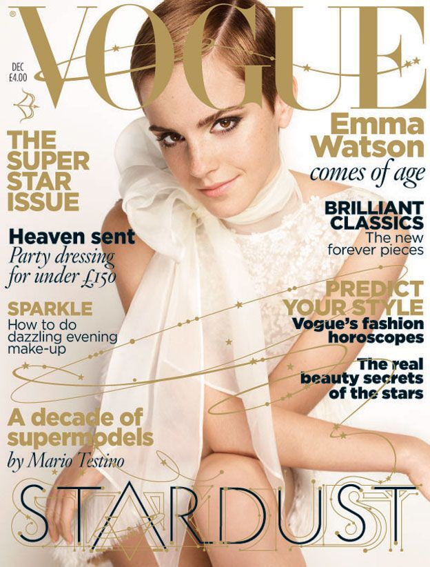December 2010 Emma Watson wears guipure and feather dress, to order, Valentino Haute Couture, Paris. All make up by Lancome. All hair by Shu Uemura Art of Hair. Hair: Marc Lopez. Make-up: Linda Cantello. Nails: Elsa Deslande. Set designer: Alex Boch. Illustration: Jo Ratcliffe (Jocandraw.com) Fashion editor: Lucinda Chambers. Photographer: Mario Testino