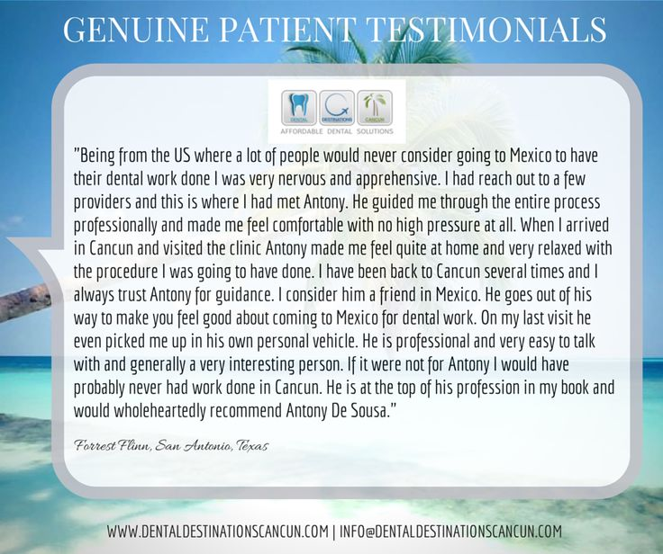Try us ~ We Exceed our patients expectations and will do the same for you! #Patientscomefirst #Dentaltourismmexico #patienttestimonials www.dentaldestinationscancun.com info@dentaldestinationscancun.com