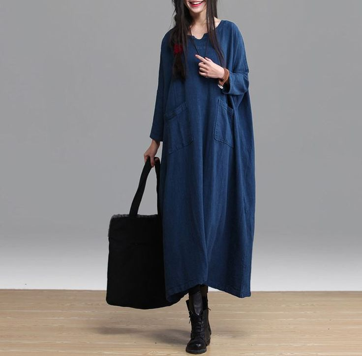 Women cotton linen loose fitting maxi dress long sleeve spring and autumn long dress plus size clothing for old women -buykud
