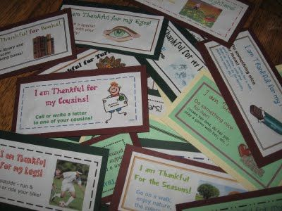 Thankful Thanksgiving Activity Countdown: each day draw a different card and do the gratitude activity listed on the card -- printable