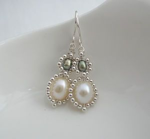 Double Pearl Beaded Drops - earrings