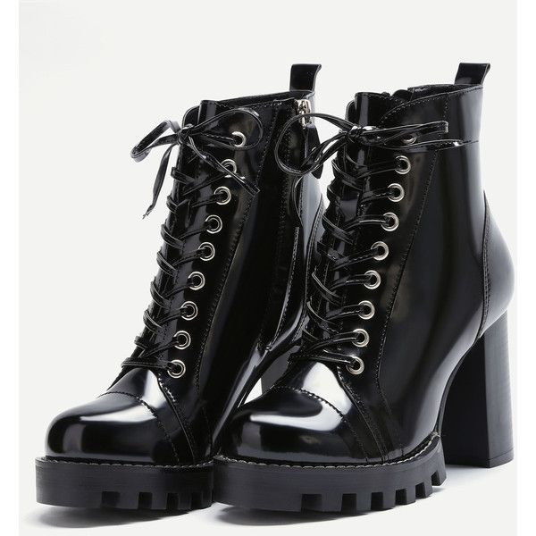 SheIn(sheinside) Black Patent Leather Cap Toe Topstitch High Heel... ($49) ❤ liked on Polyvore featuring shoes, boots, lace up high heel boots, knee-high lace-up boots, black platform boots, chunky platform boots and lace up boots