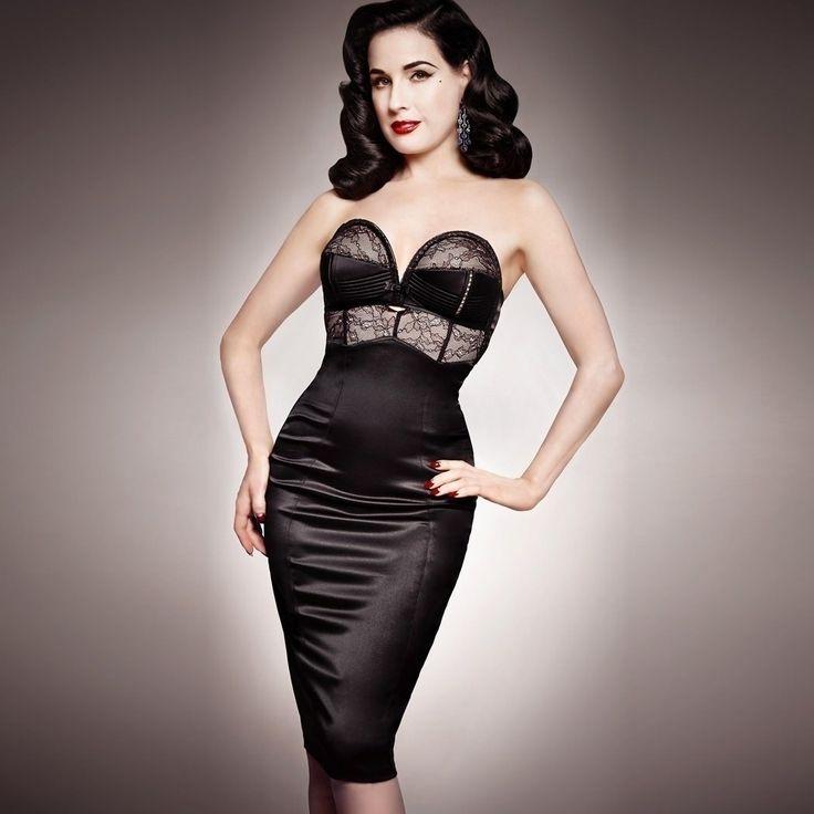 Dita Von Teese sur Glamuse, le Grand site de lingerie. Robe Her Sexellency Dita Von Teese, en tulle extensible. Détailsen fine dentelle doublée en coloris cont...