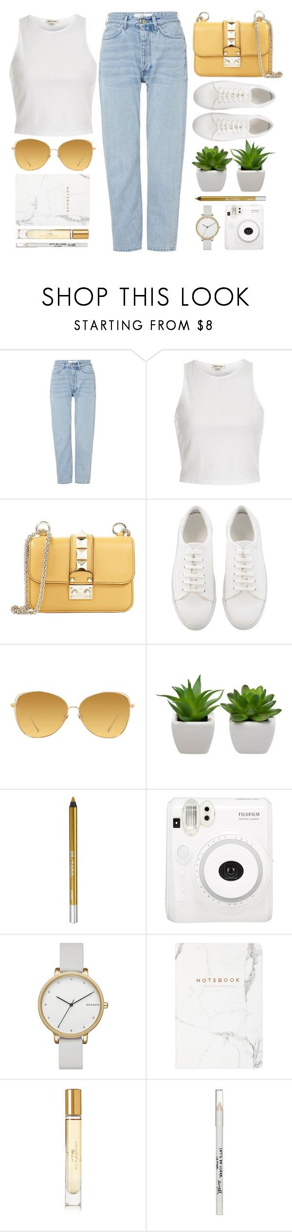 """""""Villach"""" by monmondefou ❤ liked on Polyvore featuring Won Hundred, River Island, Valentino, Linda Farrow, Urban Decay, Skagen, Burberry, Barry M, white and yellow"""