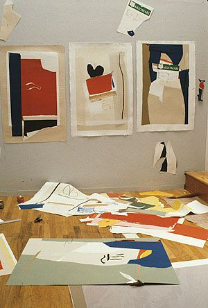 Robert Motherwell's preliminary collage work for his 'America-La France Variations' series, Tyler Graphics Ltd., Bedford Village, New York, 1983.  Photographer: Lindsay Green