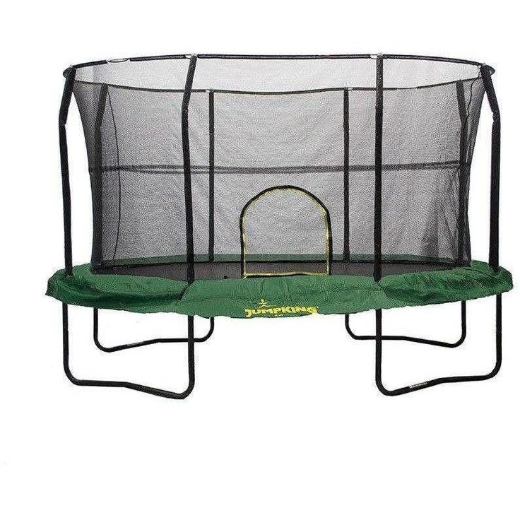 8x12 Oval Trampoline with Enclosure - Green
