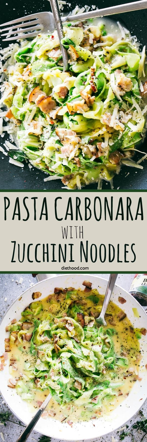 Pasta Carbonara with Zucchini Noodles – Healthy, lightened up version of the classic pasta carbonara prepared with delicious zucchini noodles, pan fried pancetta, and an irresistible creamy parmesan sauce. #zoodles #zucchini #bacon