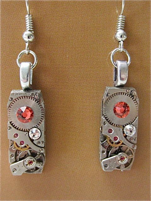 Steampunk Earrings - Made with real watch parts