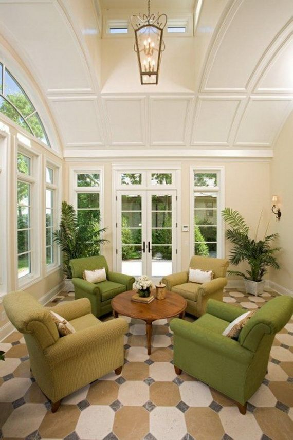 """A bit formal, but would be good smaller (less """"grand"""") and without eyebrow window(s) I do like the french doors and windows. tile floor is nice too 46 Sunroom Design Ideas"""