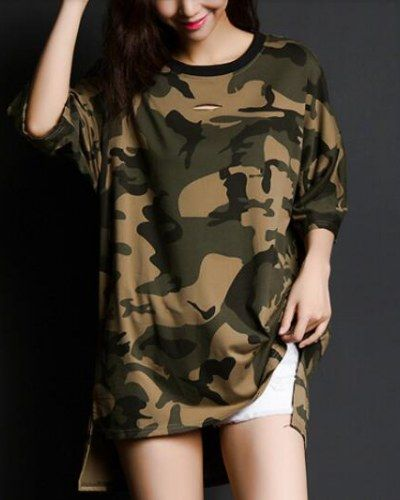 Hip hop camo high low t shirt with side slits cut out tops for girls