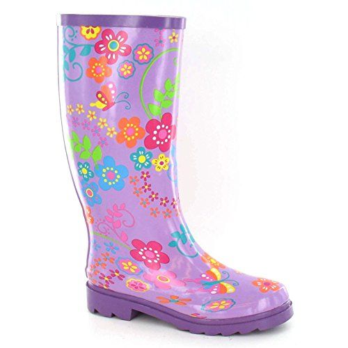 Spot On WomensLadies Floral Rubber Wellington Boots 7 US Purple -- Details can be found by clicking on the image.