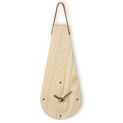 Ash Wood Water Drop Design Wall Hanging Non-Ticking Silent Clock