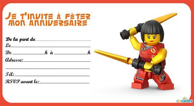 8 invitations anniversaire lego ninjago 123 cartes - Modele lego gratuit ...