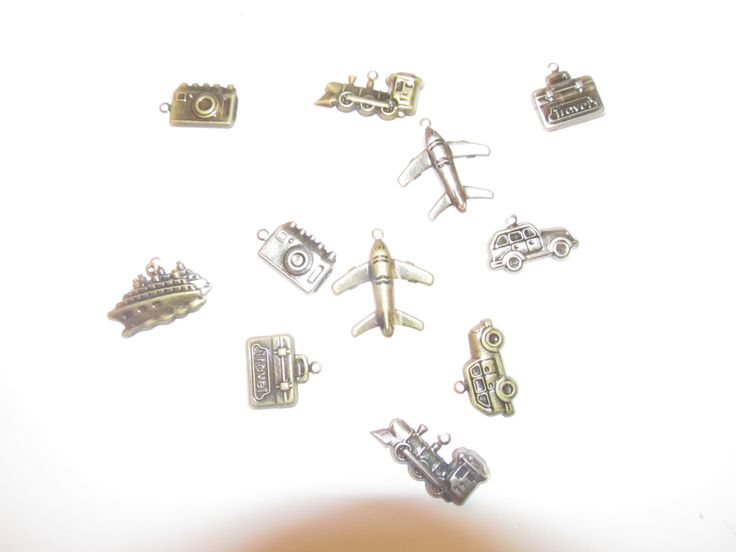 Metal charms travel concept 15mm (12 pcs)