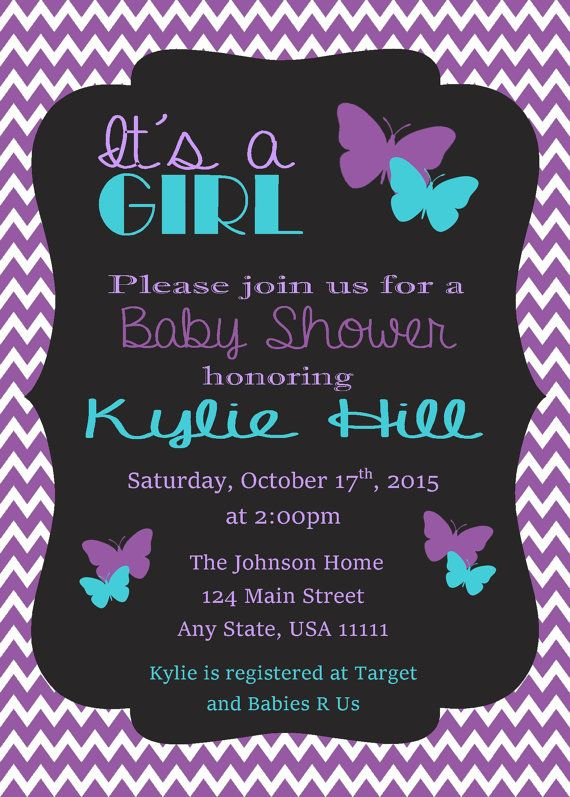 Purple  Teal Butterfly Baby Shower Invitation By -7904
