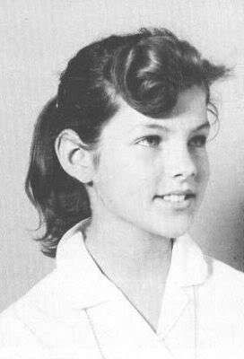 Young Priscilla Presley in a White Blouse when She was 14 years old