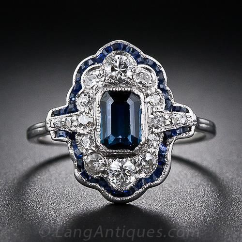 Art Deco platinum, sapphire and diamond ring c1925, with an emerald-cut sapphire framed by diamonds outlined with calibre-cut sapphires ~ pinned by #Blucha
