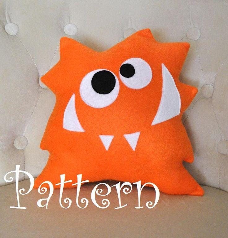 Animal Pillow Patterns To Sew : Nom Nom Monster Plush Pillow -NEW BEDBUGGS DESIGN- Monster Pillow- Anime Cartoon Patterns ...