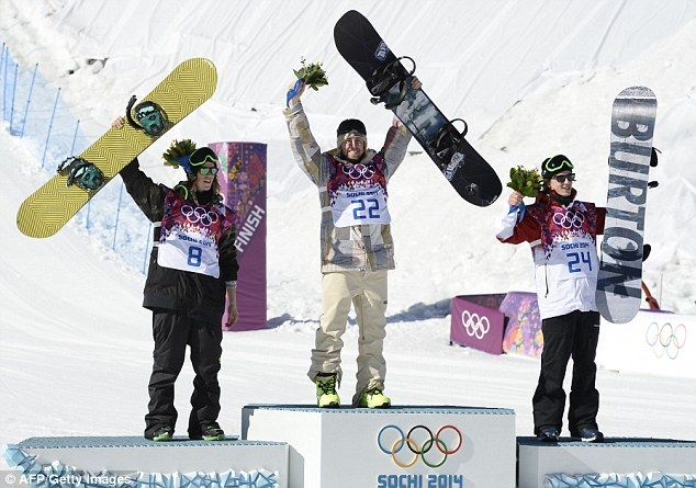 Sage Kotsenburg wins first Sochi gold medal in Men's Slopestyle ... Medallists: (L-R) Norway's Staale Sandbech, Silver; USA's Sage Kotsenburg, Gold; and Canada's Mark Mcmorris, Bronze, celebrate on the podium.