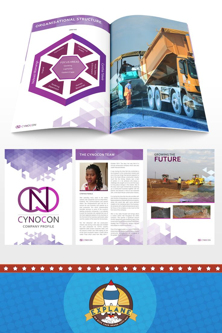 Company Profile Design for CYNOCON - A successful women led construction company in South Africa {Full Colour A4, 22 Page Brochure Print }