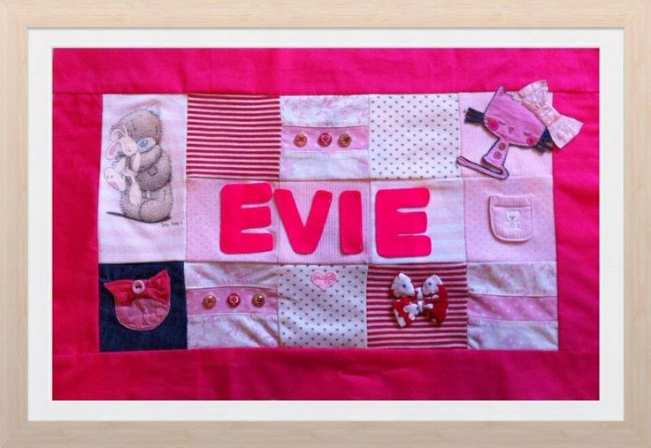 Patchwork keepsake with felt lettering ready to be framed £20 plus p+p