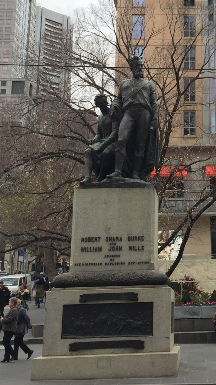 The Statue of Burke and Wills - created in 1865 -  made from steel - placed at the corner of Collins and Swanston Streets. - the first to cross continent from south to north.