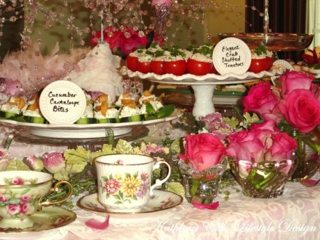 PINK Tea Experience buffet table setting