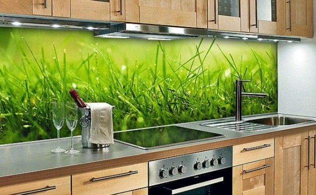 glasrückwand küche gras holz