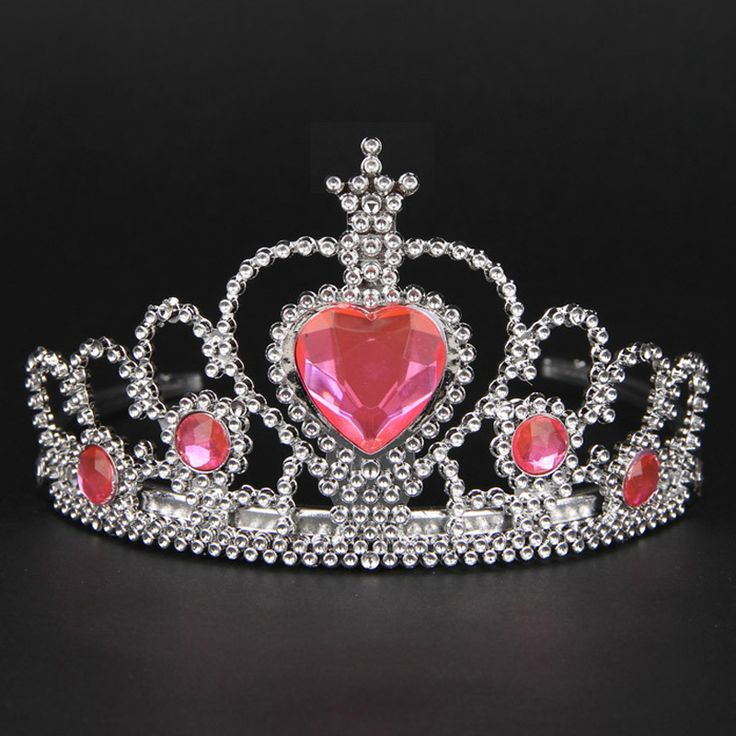 Lovely Pink Girls Plastic Hairband Rhinestone Princess Crown Headband Birthday Tiara Children Hair Accessories