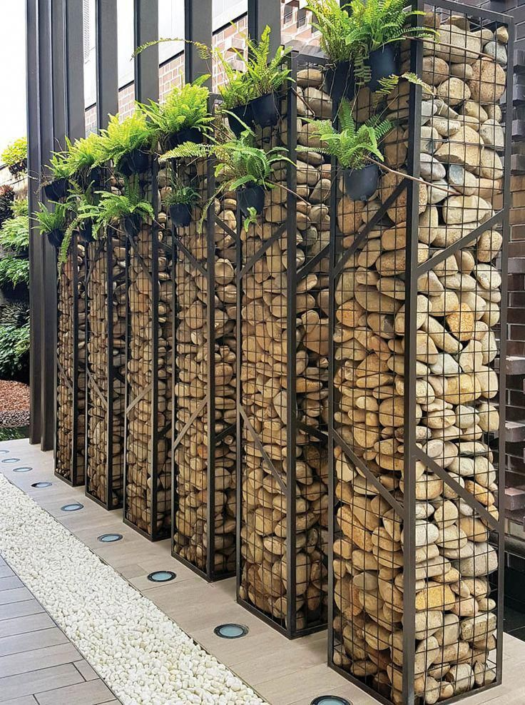 Gabion Walls - idea for front yard with some type of fern potted
